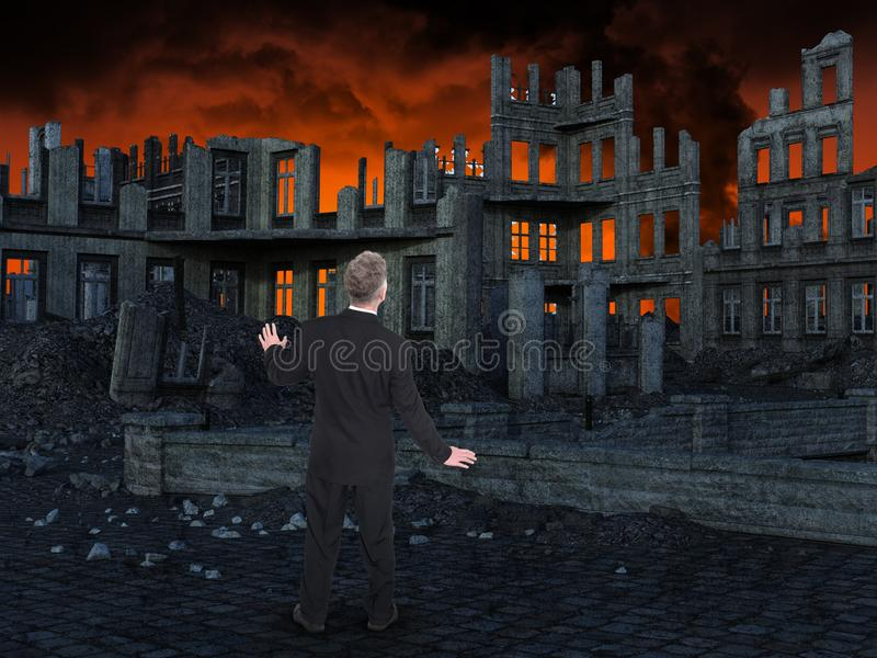 Business, Sales, Marketing, Risk Management. Apocalypse and burning city greet a businessman who is working for business, sales, marketing, and risk management royalty free stock photo