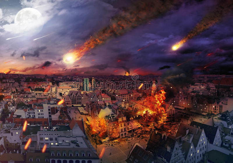 Apocalypse caused by a meteorite. Apocalypse caused by a giant meteorite stock image
