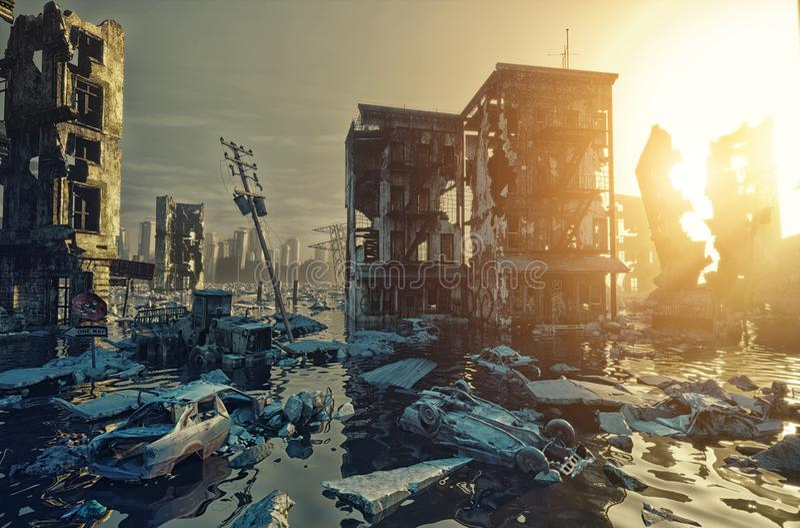 Apocalypse city stock illustration