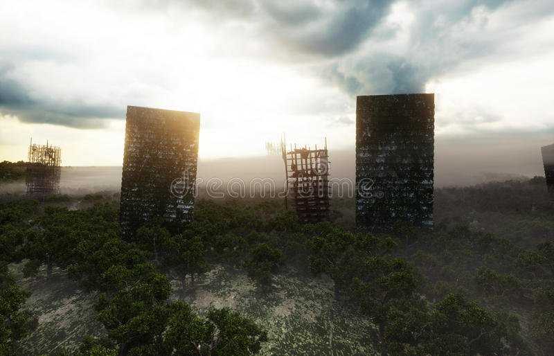 Apocalypse city in fog. Aerial View of the destroyed city. Apocalypse concept. 3d rendering. royalty free illustration
