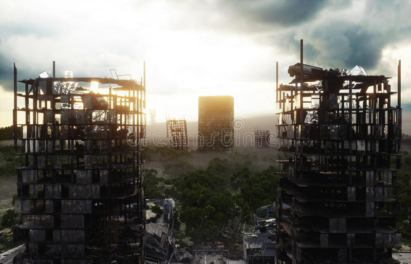 Apocalypse city in fog. Aerial View of the destroyed city. Apocalypse concept. 3d rendering. stock illustration