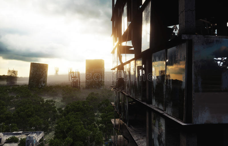 Apocalypse city in fog. Aerial View of the destroyed city. Apocalypse concept. 3d rendering. vector illustration