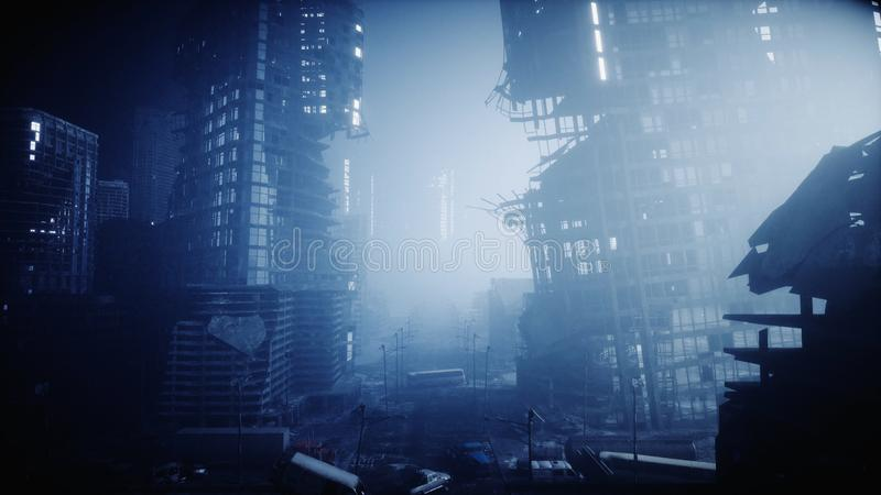 Apocalypse city in fog. Aerial View of the destroyed city. Apocalypse concept. 3d rendering. Apocalypse city in fog. Aerial View of the destroyed city royalty free stock images