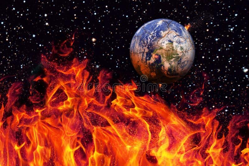 Apocalypse, die Erde zerstört durch das Explodieren der Sonne Ende der Zeit Zukunftsromankunst Elemente dieses Bildes stockfotografie