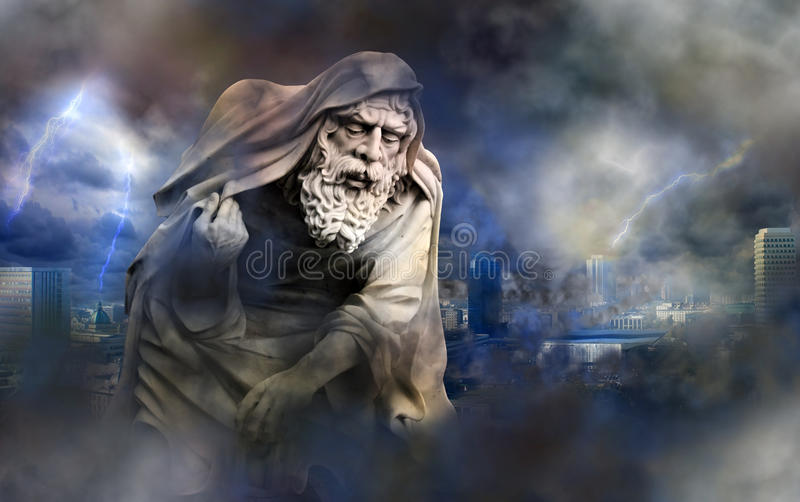 Apocalypse doomsday. Apocalypse in the city with angel of death stock image