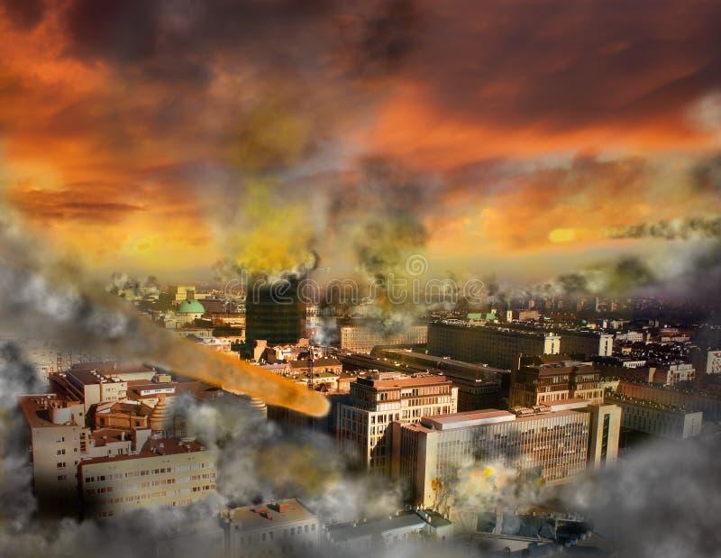 Apocalypse meteor storm. Concept of vision apocaliptic world vector illustration