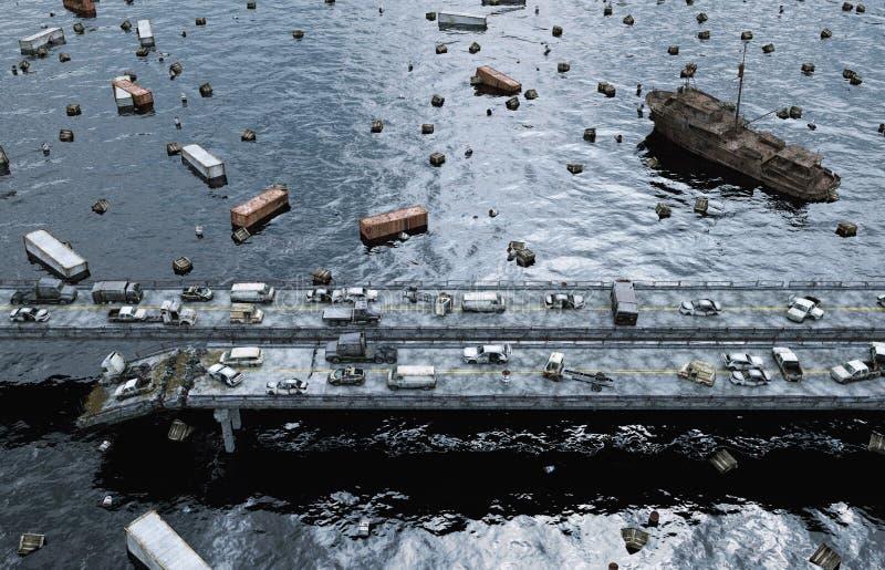 Apocalypse sea view. Destroyed bridge. Armageddon concept. 3d rendering. royalty free illustration