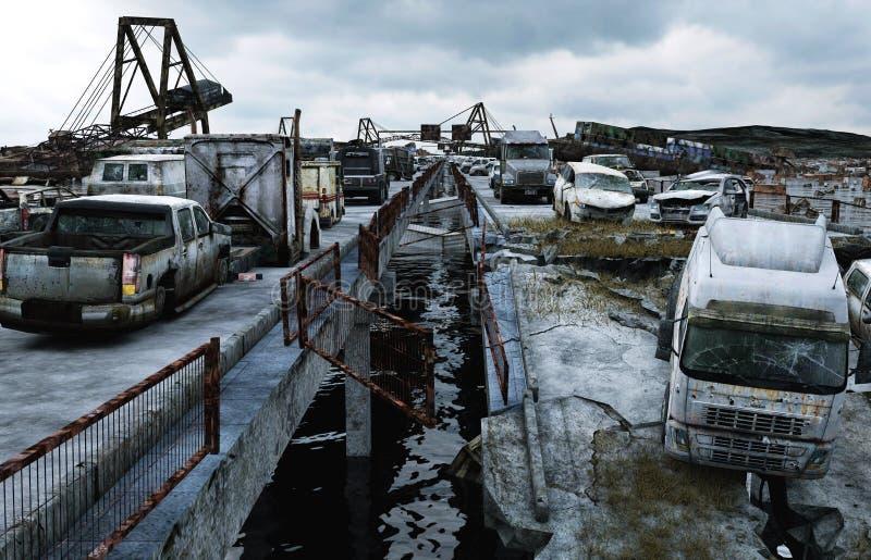 Apocalypse sea view. Destroyed bridge. Armageddon concept. 3d rendering. stock illustration
