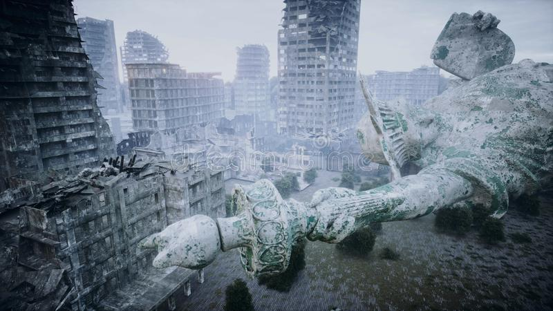 Apocalypse of USA, America. Aerial View of the destroyed city. Apocalypse concept. 3d rendering. royalty free illustration
