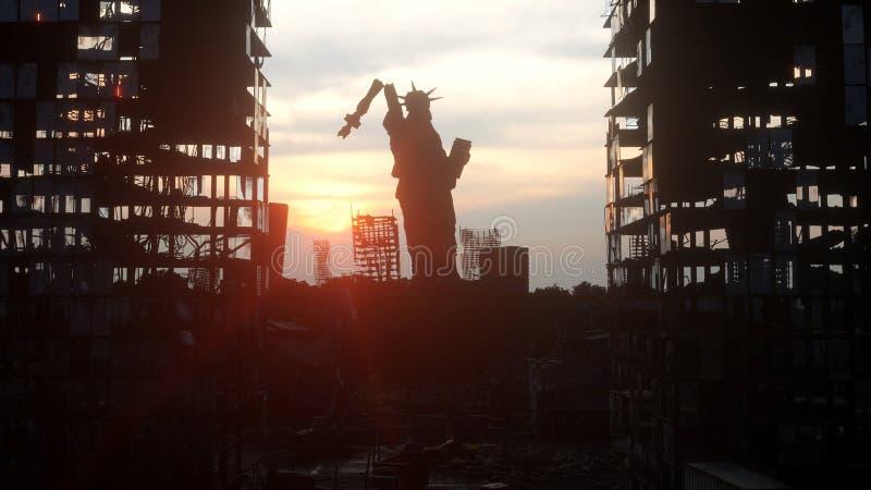 Apocalypse von USA, Amerika Ansicht zerstörtes New York City, Freiheitsstatue Apocalypsenkonzept Wiedergabe 3d stock abbildung