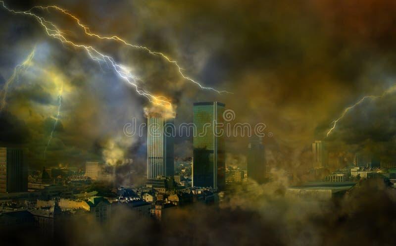 Apocalypse weather anomalies. Concept of vision apocaliptic world stock illustration