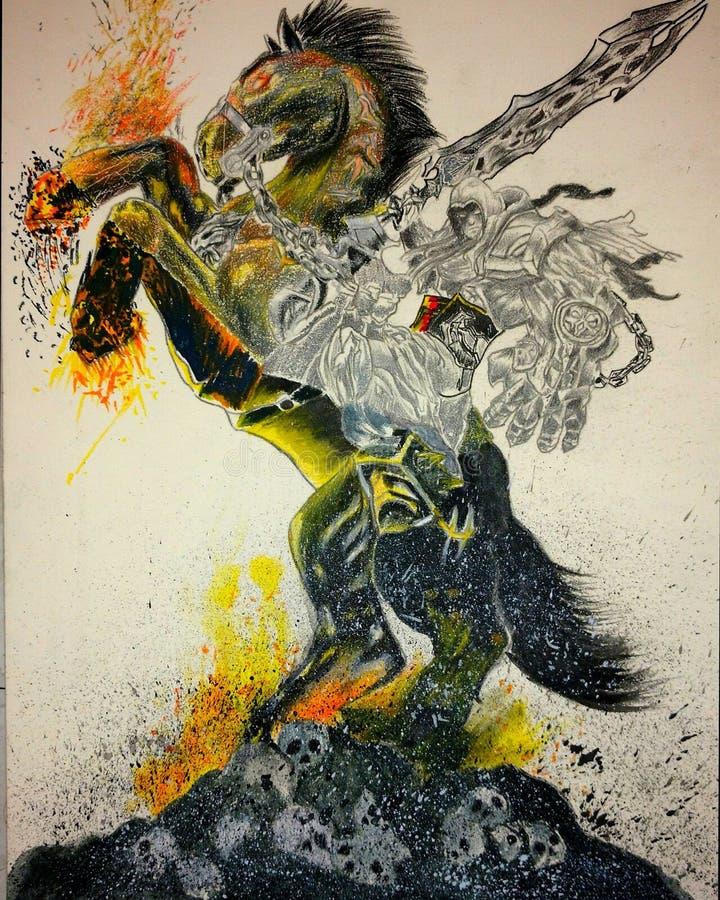 Apocalypsruiters door vlammen op donker paard worden omringd dat stock fotografie