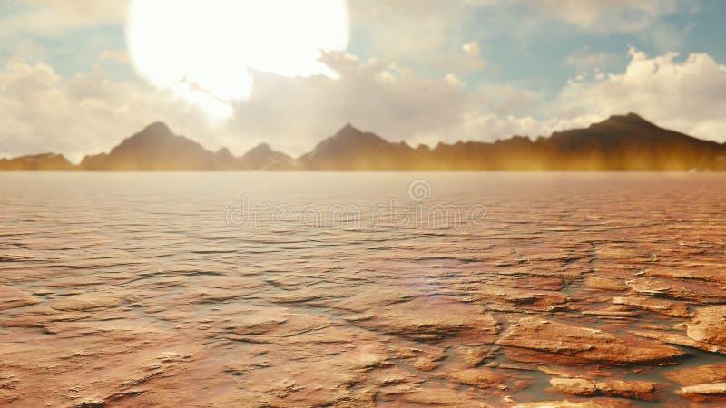 Apocalyptic desert. Post-Apocalypse, global warming, climate change, hot dusty desert. 3D Rendering vector illustration