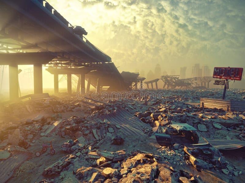 Apocalyptic landscape. Ruins of a city. Apocalyptic landscape.3d illustration concept vector illustration