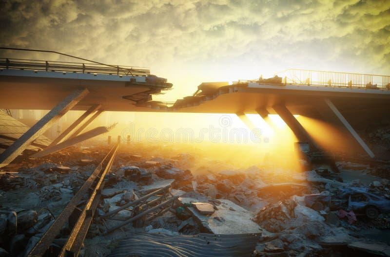 Apocalyptic landscape. Ruins of a city. Apocalyptic landscape.3d illustration concept stock illustration