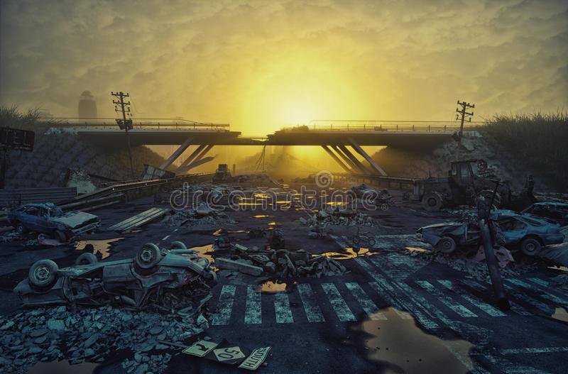 Apocalyptic landscape. Ruins of the flooding city. Apocalyptic landscape.3d illustration concept vector illustration