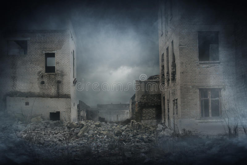 Apocalyptic ruins of the city. Disaster effect royalty free stock photo