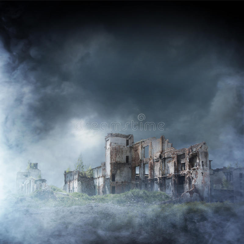 Apocalyptic ruins of the city. Disaster effect royalty free stock photos
