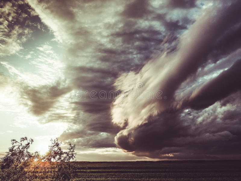 Apocalyptic storm clouds stock image