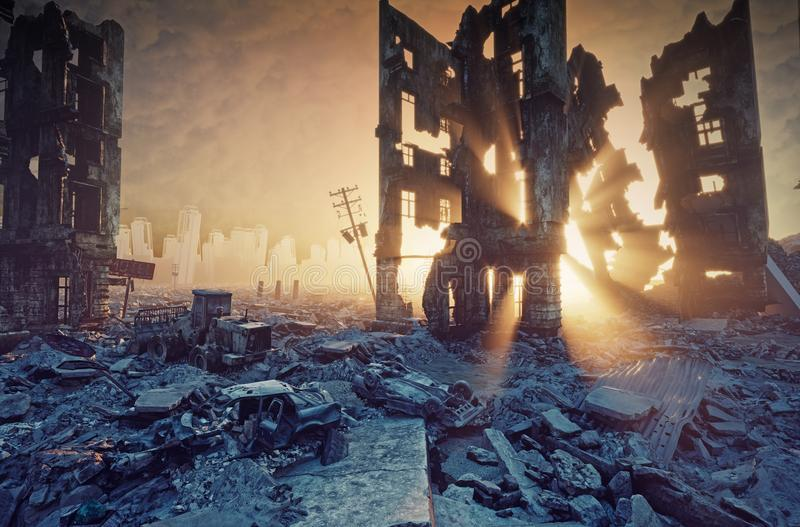 Apocalyptic sunset view. Apocalyptic sunset. Creative 3D illustration royalty free illustration