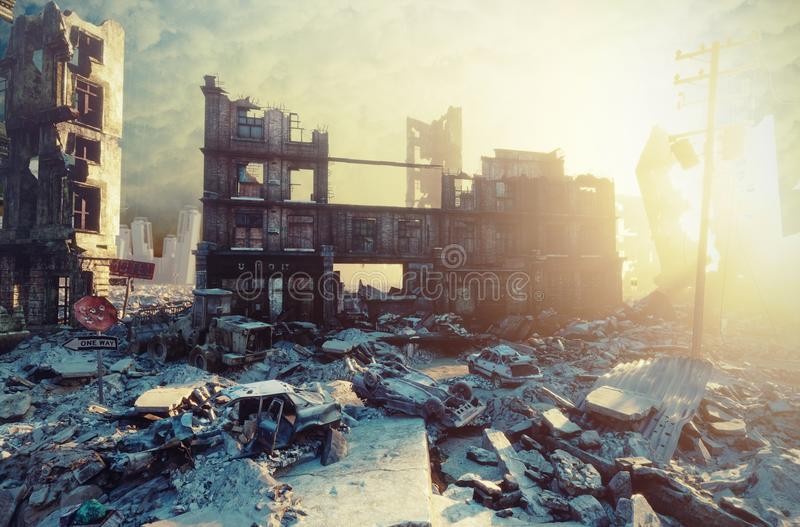 Apocalyptic sunset view. Apocalyptic city sunset. Creative 3D illustration vector illustration
