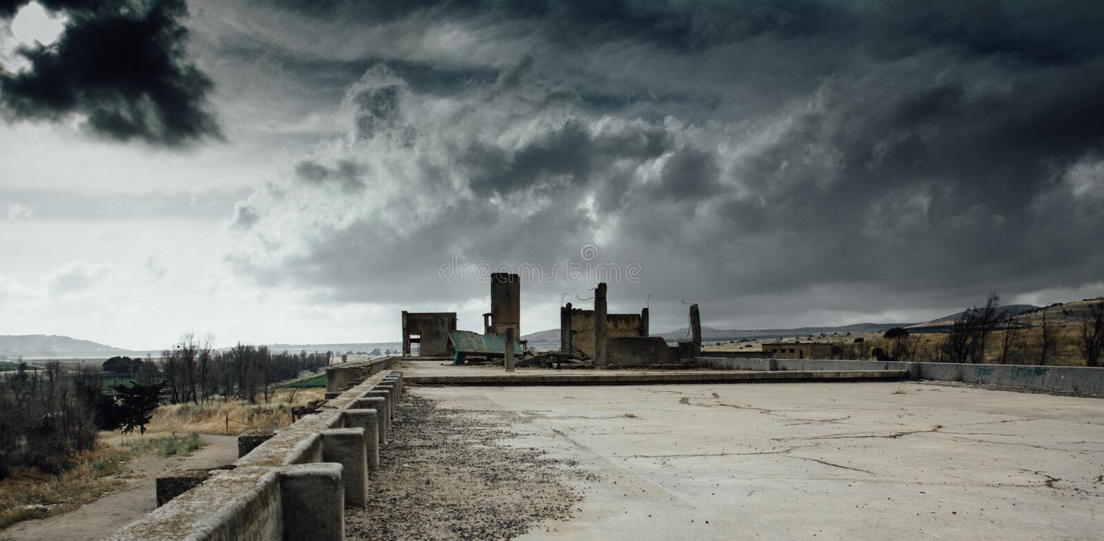 Apocalyptic war landscape stock image