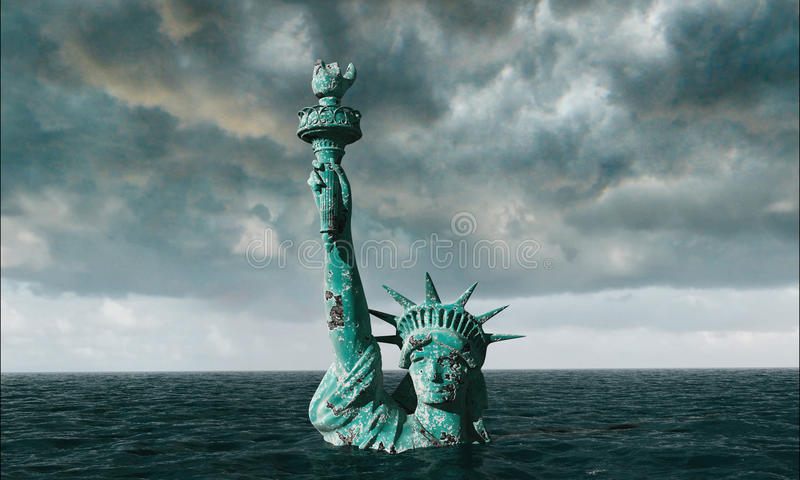 Apocalyptic water view. Old Statue of liberty in Storm. 3d render stock image