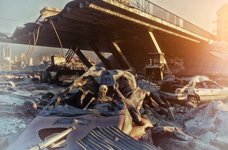Apocalyptisch 3d landschap royalty-vrije stock fotografie