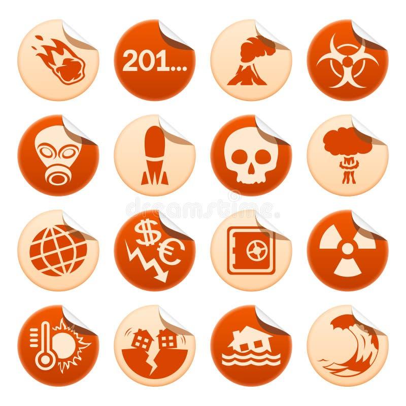 Apocalyptische en natuurrampenstickers stock illustratie
