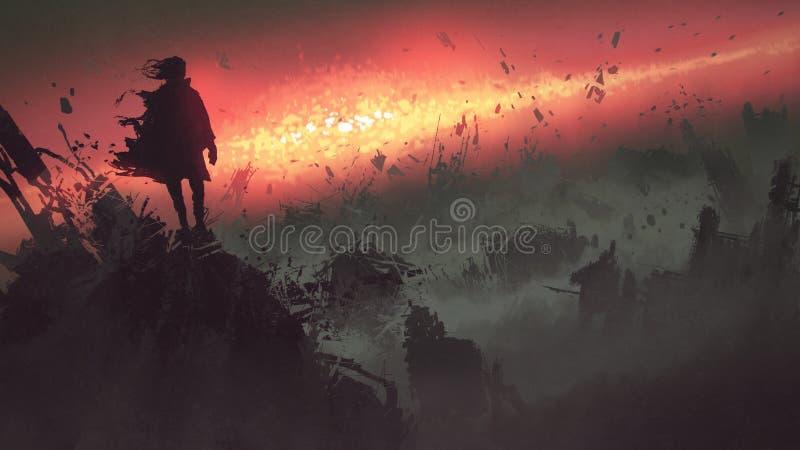 Apocalyptische explosie op de aarde royalty-vrije illustratie