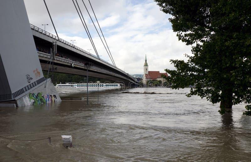 Apogeo en Danubio en Bratislava, Eslovaquia foto de archivo libre de regalías