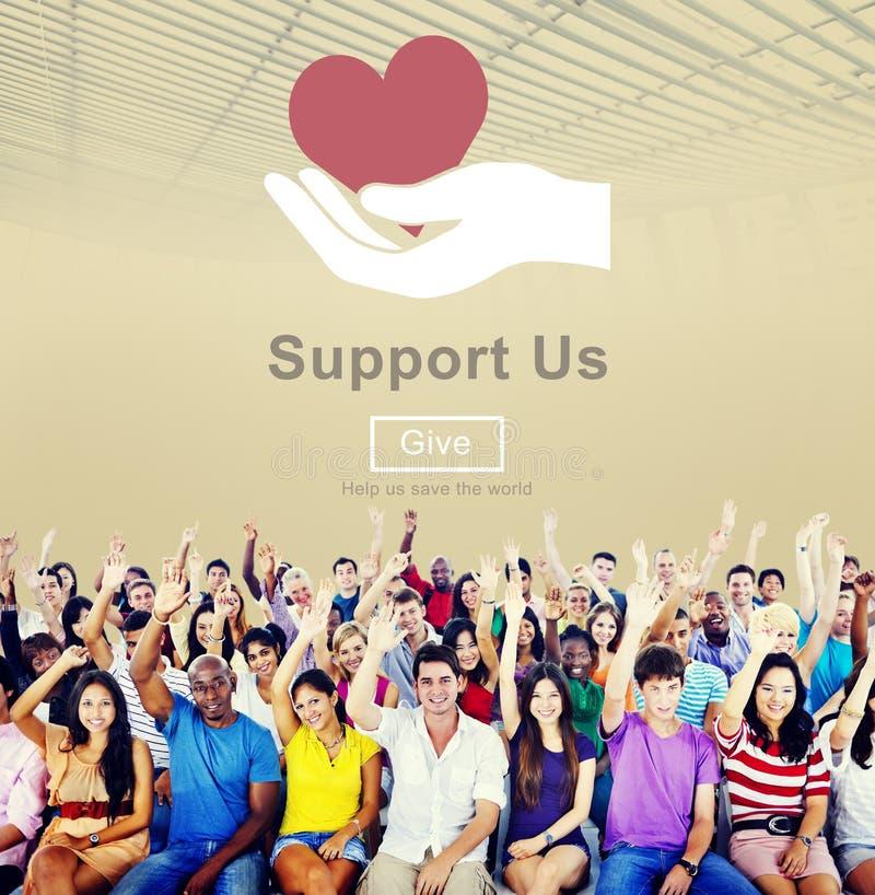 Apoie-nos o conceito voluntário das doações do bem-estar fotografia de stock royalty free