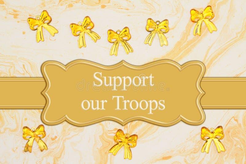 Apoie nossa mensagem das tropas com as fitas amarelas em papel textured da aquarela ilustração stock