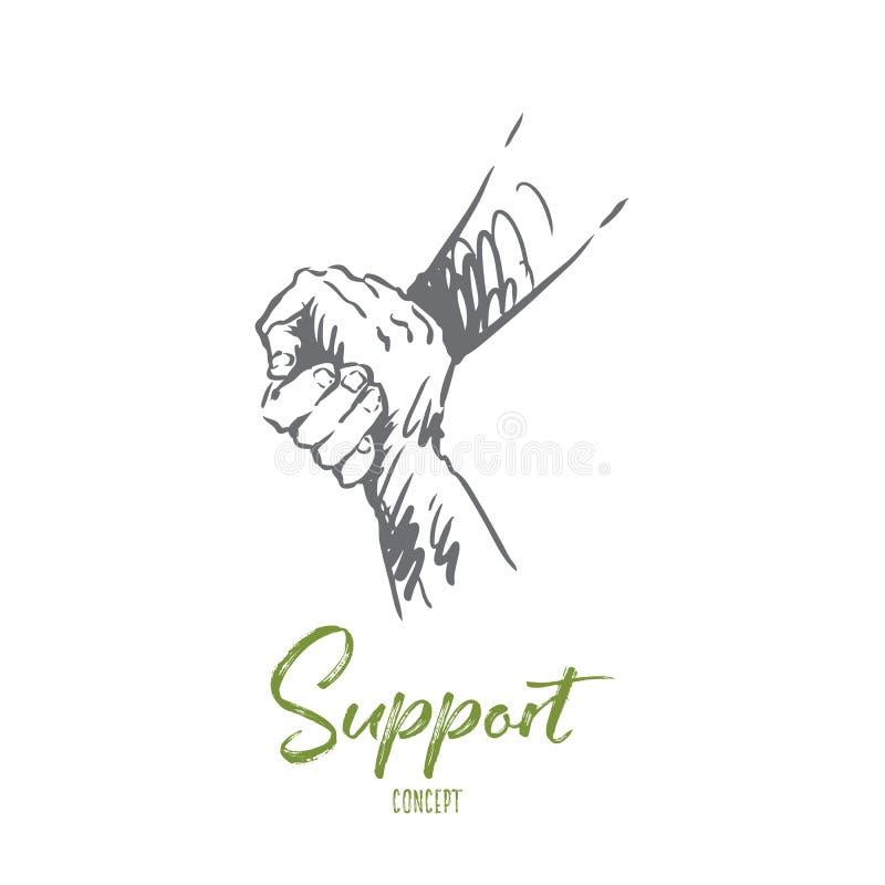 Apoio, ajuda, amizade, junto, conceito dos povos Vetor isolado tirado mão ilustração royalty free