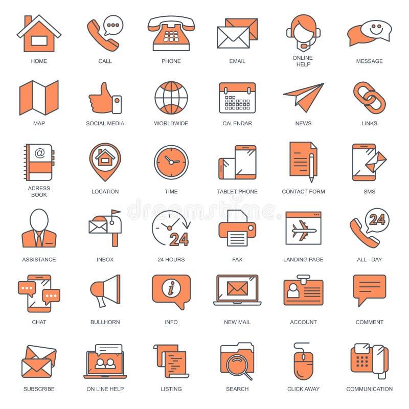 Apoio ao cliente e para contactar-nos para esboçar o grupo do ícone Vetor liso ilustração stock