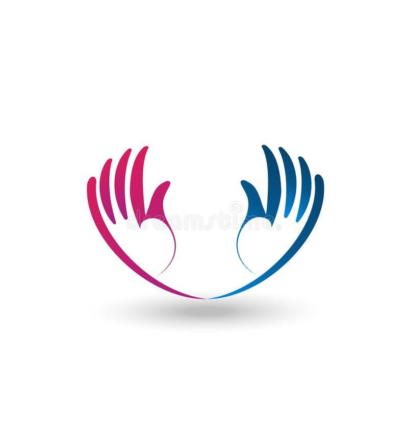 Apoio e logotipo esperançoso do vetor das mãos ilustração royalty free