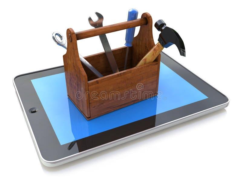 Apoio em linha Caixa de ferramentas com as ferramentas no PC da tabuleta 3d ilustração do vetor