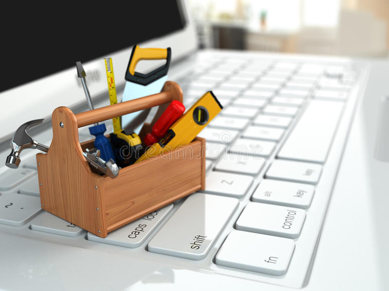 Apoio em linha. Caixa de ferramentas com as ferramentas no portátil. ilustração stock
