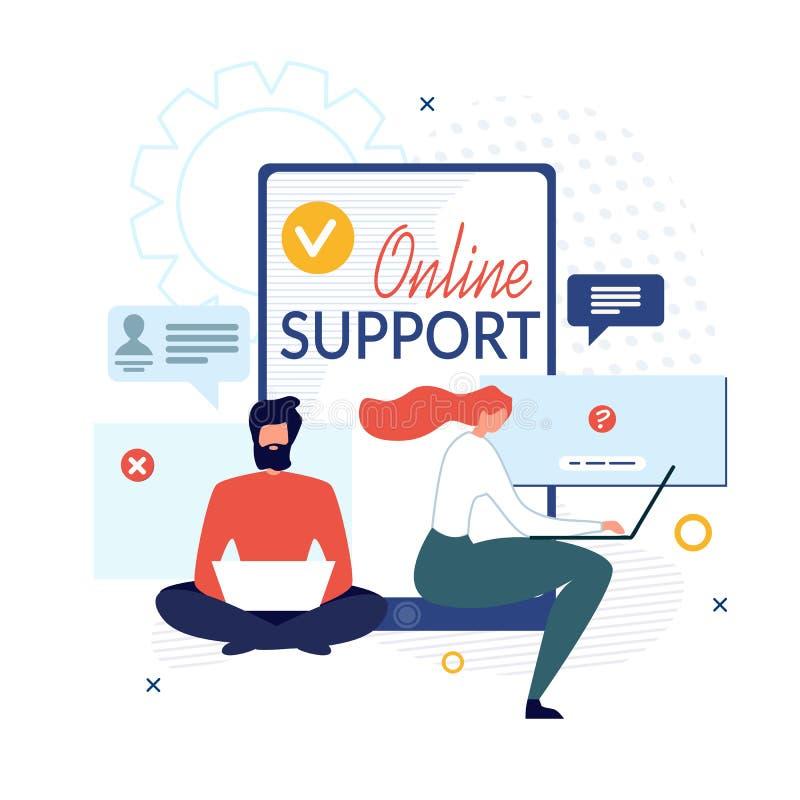 Apoio em linha e ajuda virtual para prestar serviços de manutenção à bandeira imagens de stock royalty free