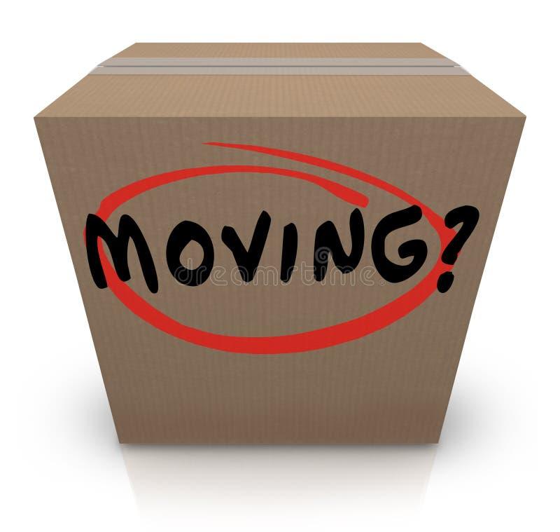 Apoio em mudança movente da ajuda do lugar da caixa de cartão da palavra ilustração do vetor