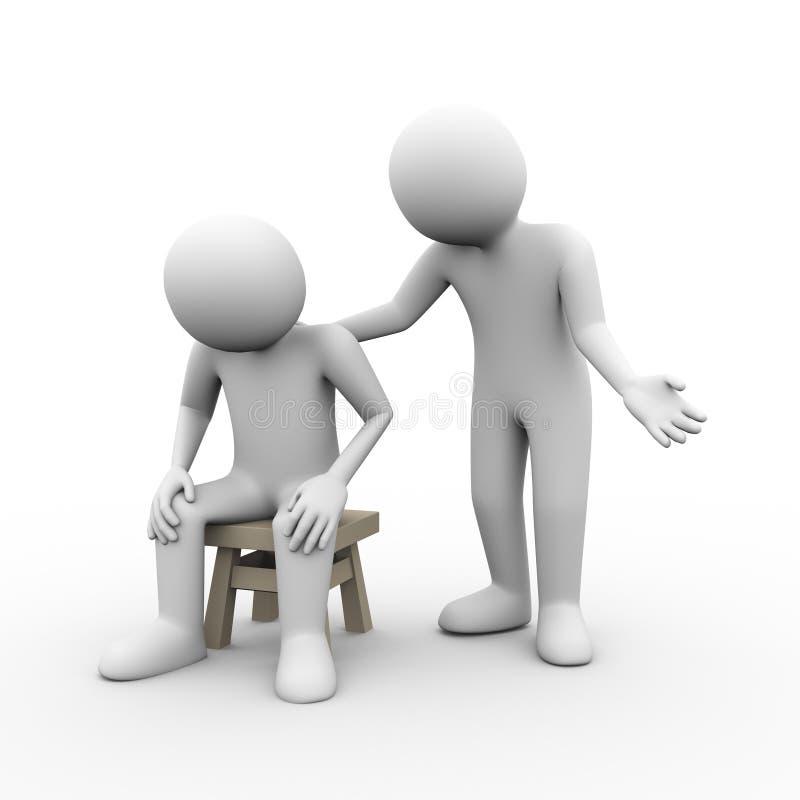 apoio moral da ajuda da tristeza da amizade dos povos 3d ilustração stock
