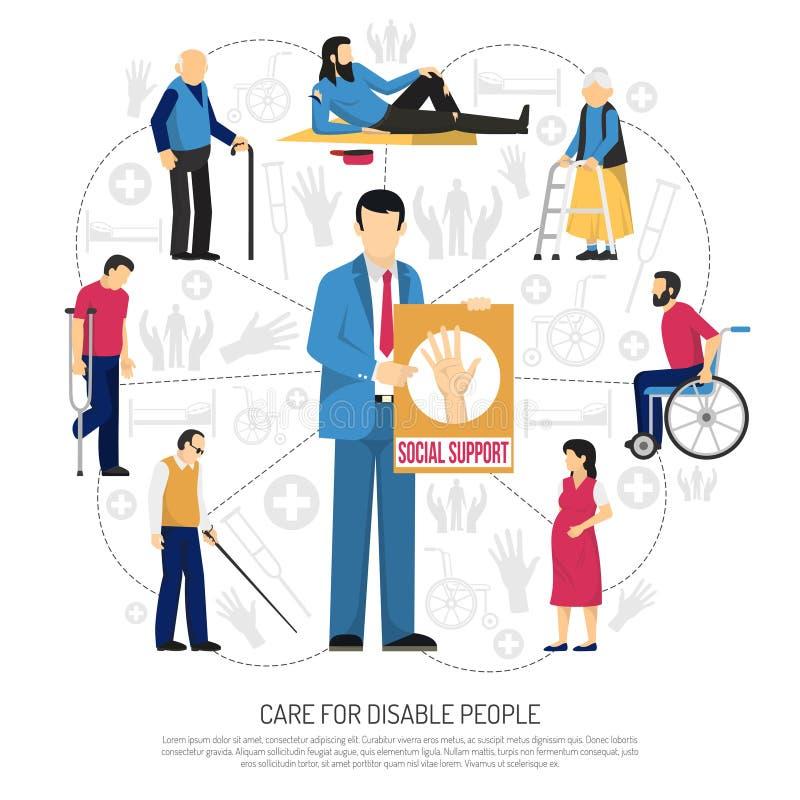 Apoio social para deficientes motores da composição ilustração royalty free