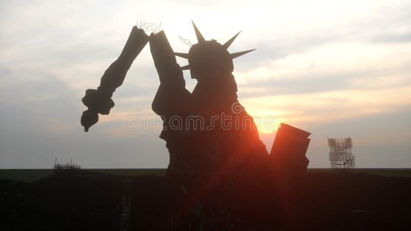 Apokalipsa usa, Ameryka widoku Nowy Jork zniszczony miasto, statua wolności Apokalipsy pojęcie świadczenia 3 d ilustracji