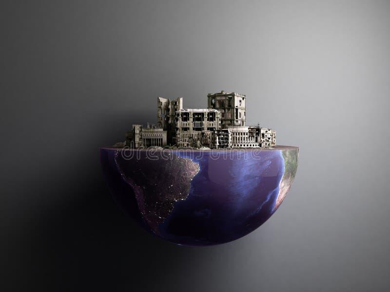 Apokalipsy miasto w połówce planety dupy apokalipsy pojęcie 3d ren ilustracja wektor