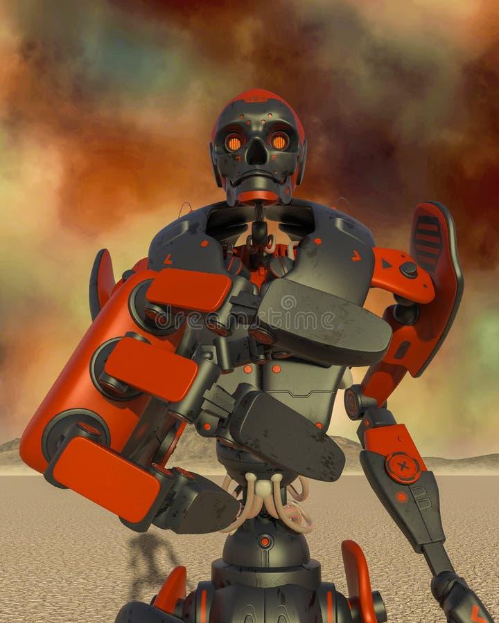 Apokaliptyczna robot kreskówka na pustynny samotnym próbuje dosięgać ciebie royalty ilustracja