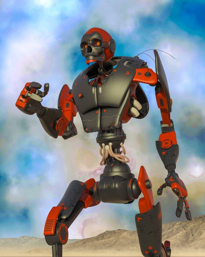 Apokaliptyczna robot kreskówka na pustynnym na błękit pustyni samotnie ilustracji