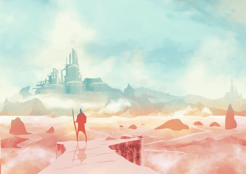 Apokaliptyczny krajobraz i apokaliptyczna fikcja, wojownik patrzeje od falezy miasto na horyzoncie z dzidą fantastyka naukowa royalty ilustracja
