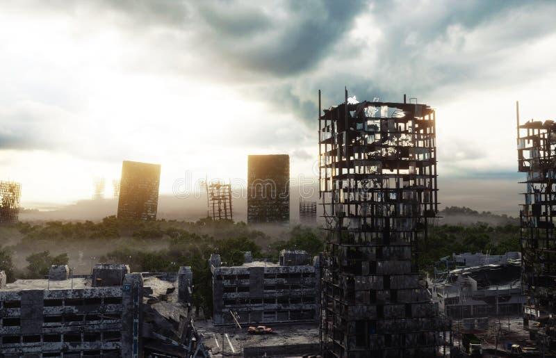 Apokalypsstad i dimma Flyg- sikt av den förstörda staden Apokalypsbegrepp framförande 3d royaltyfri illustrationer