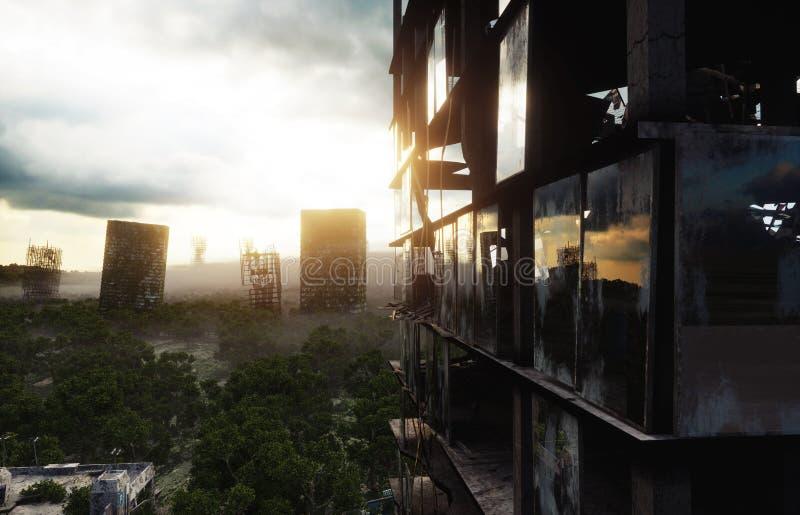 Apokalypsstad i dimma Flyg- sikt av den förstörda staden Apokalypsbegrepp framförande 3d vektor illustrationer