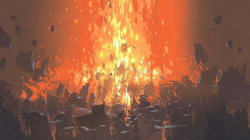 Apokalyptische Explosion mit vielen Fragment von Gebäuden lizenzfreie abbildung